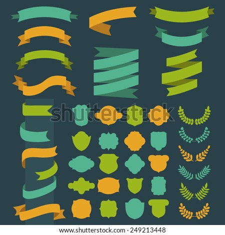 Beg vector set of ribbons, laurels, labels and speech bubbles in  flat style - stock vector