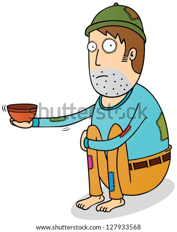 beggar - stock vector