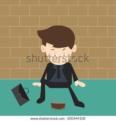 beggar businessman - stock vector