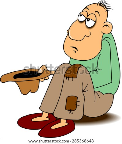 beggar in holey pants requests coin, vector - stock vector