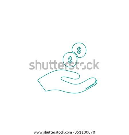 beggar Outline vector icon on white. Line symbol pictogram  - stock vector