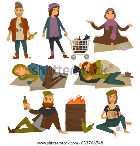 Poor man stock images royalty free images vectors shutterstock beggars and bum or vagrant homeless people vector flat isolated icons sciox Images