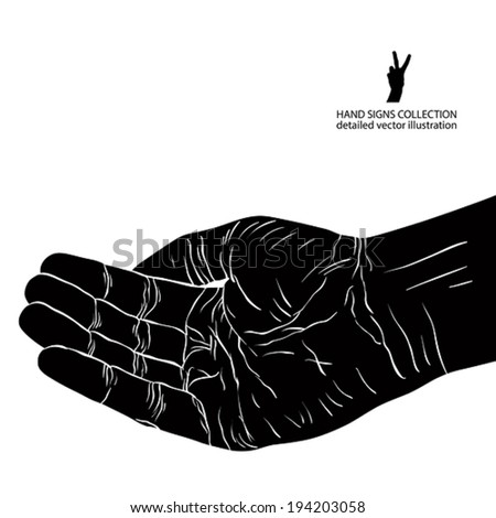 Begging hand, detailed black and white vector illustration. - stock vector