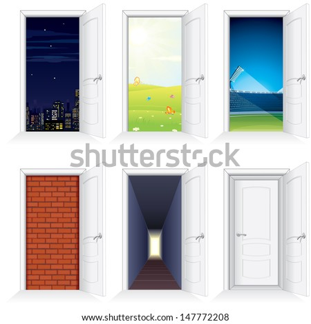 Behind Open Door. Opened White Door to Nature, City, Arena, Brick Wall and Hallway. Vector Set. - stock vector