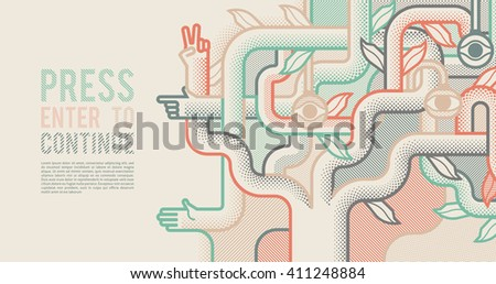 Behind reality. Mechanical tree with hands. Pop art style background - stock vector