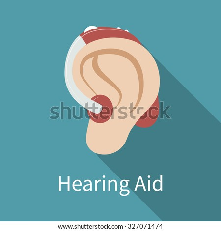 Behind-the-ear hearing aid icon. Flat design, long shadow. Ear wearing deaf-aid. Could be used as illustration of deaf problem or hearing loss. Vector art, eps 10. - stock vector