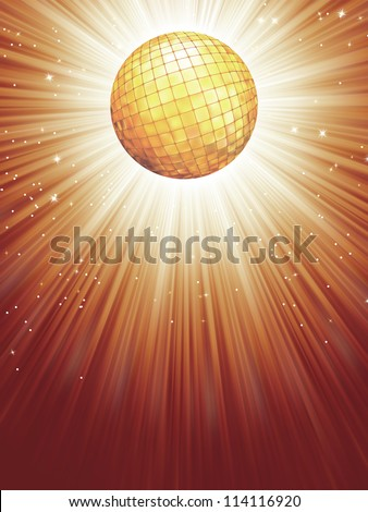 Beidge disco rays with stars. EPS 8 vector file included - stock vector