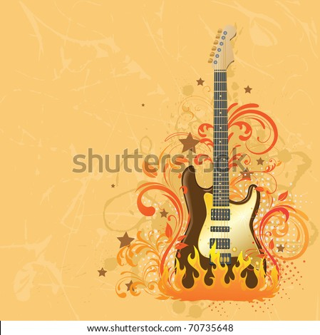 Beige background with a guitar.