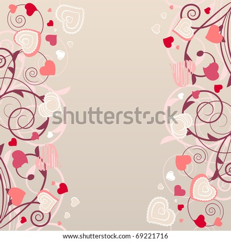 Beige background with different contour pink hearts - stock vector
