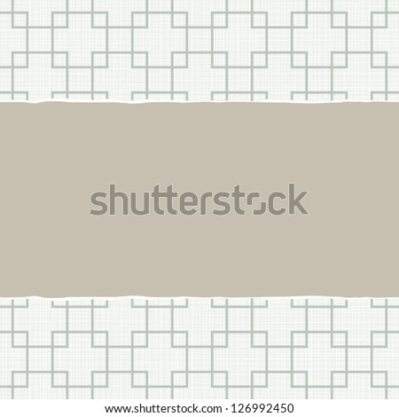 beige blue white retro squares geometric pattern in winter colors with torn paper on light scrapbook horizontal background - stock vector