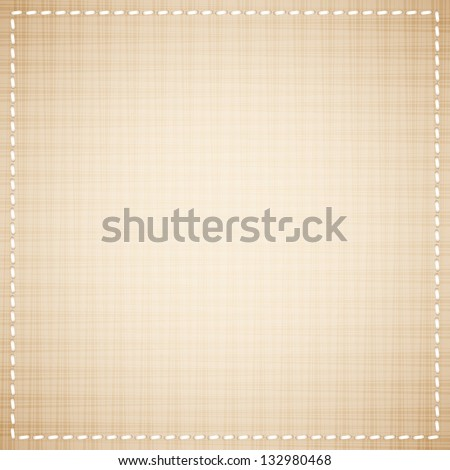 beige canvas texture with white thread - stock vector