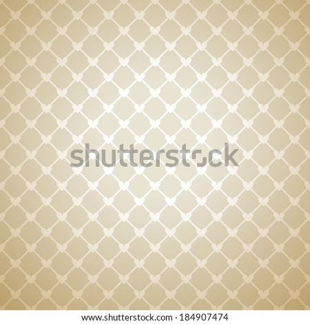 Beige cloth texture background. Vector illustration for your warm confident design. Book and wall cover. Fabric bright romantic canvas wallpaper with delicate heart lace pattern. - stock vector