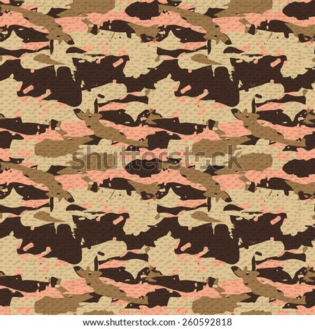 Beige desert seamless pattern - Camouflage vector background - stock vector