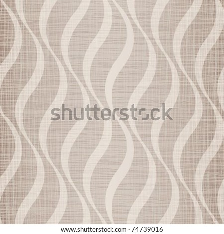 Beige fabric with drawing waves - stock vector