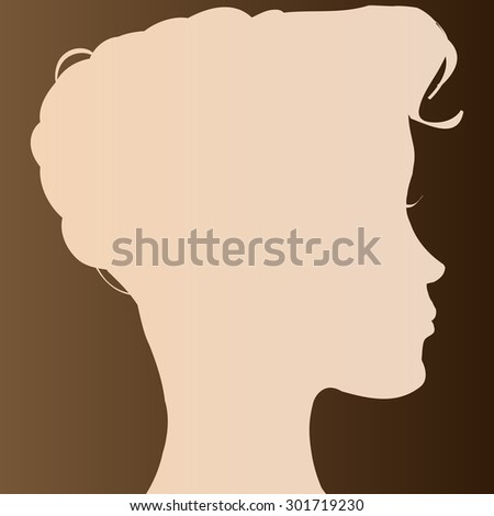 Beige face silhouette woman on brown background.