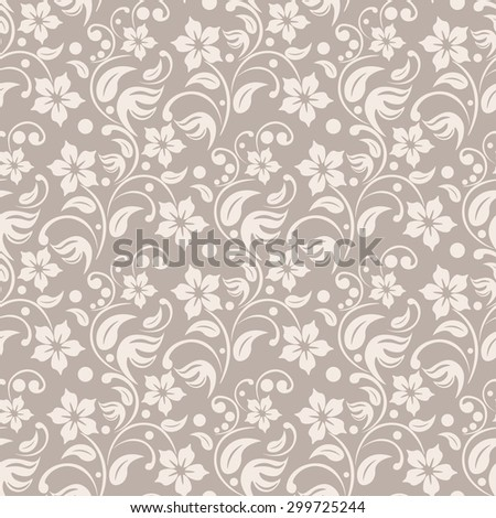 Beige floral background. leafs and dots seamless vector. Tender colors textile pattern. - stock vector