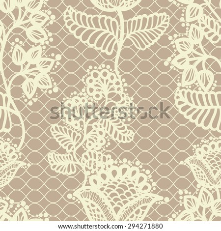 Beige gentle seamless floral lace pattern, vintage background - stock vector