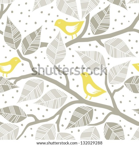 beige gray leaves and yellow birds on branches on dotted white background seasonal seamless pattern - stock vector
