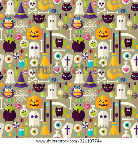 Beige Halloween Trick or Treat Objects Seamless Pattern. Flat Design Vector Seamless Texture Background. Halloween Holiday Template.  - stock vector