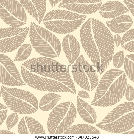 Beige leafy seamless background. Vector illustration