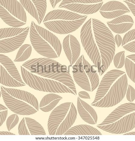 Beige leafy seamless background. Vector illustration - stock vector