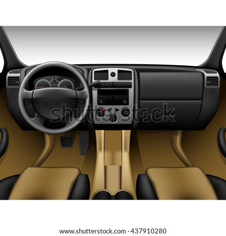 Beige leather car interior - inside view of truck, dashboard