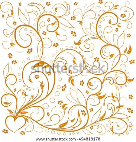 Beige leaves with abstract swirls, leaves, flowers and heart on a white background. Can be used as a background, decor, decoupage, textile, invitation. - stock vector