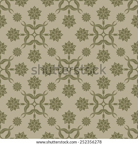 Beige seamless background. Floral elements, ornate pattern. Pattern for wallpaper and textile. Editable vector file.  - stock vector