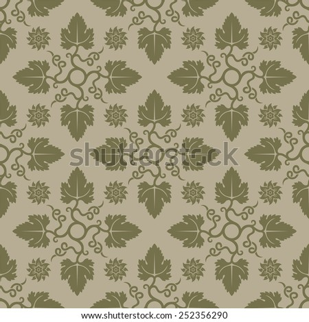 Beige seamless pattern. Floral elements. Background for wallpaper and textile. Editable vector file. - stock vector