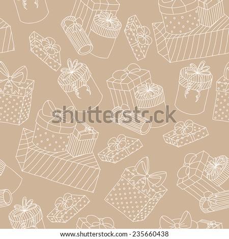 Beige seamless pattern with boxes of presents - stock vector