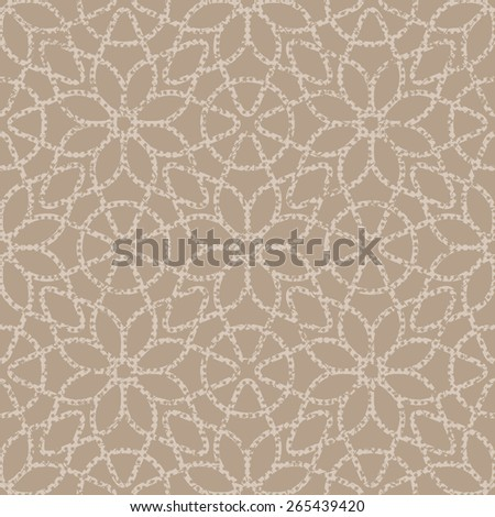 Beige seamless texture halftone lace floral pattern on the brown background - stock vector