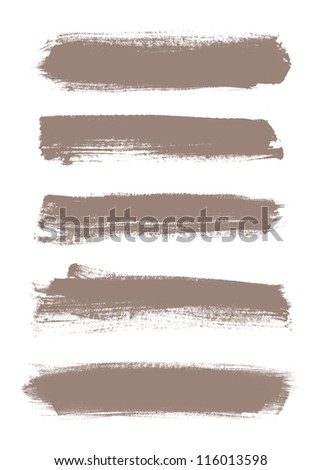 Beige vector brush strokes collection - stock vector