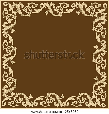 Beige vector scroll ornamental frame pattern on brown background