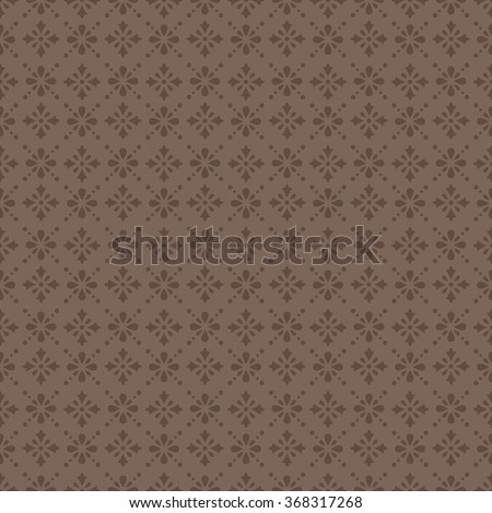Beige vintage seamless classic pattern with floral and dotted ornament on a brown background - stock vector