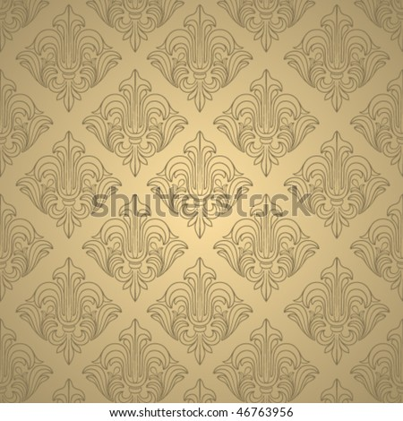 Beige wallpaper with elegant contour ornament - stock vector