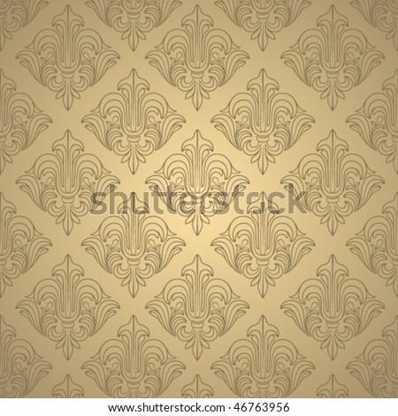 Beige wallpaper with elegant contour ornament - stock vector