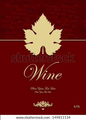 beige wine leaf red label - stock vector
