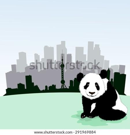 Beijing skyline, vector illustration with panda bear - stock vector