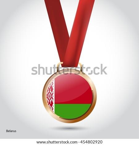 Belarus Flag in Bronze Medal. Olympic Game Bronze Medal. Vector Illustration - stock vector