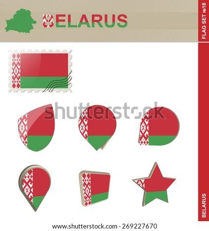 Belarus Flag Set, Flag Set #18. Vector. - stock vector