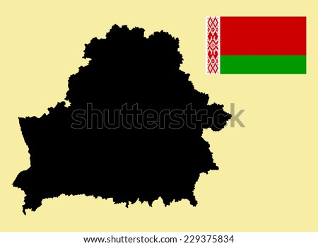 Belarus High detailed vector map and vector flag isolated on background. Original and simple Belarus flag isolated vector in official colors and Proportion Correctly.  - stock vector