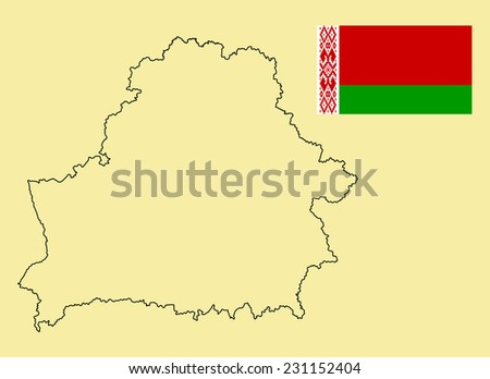 Belarus High detailed vector map contour and vector flag isolated on background. Original and simple Belarus flag isolated vector in official colors and Proportion Correctly - stock vector