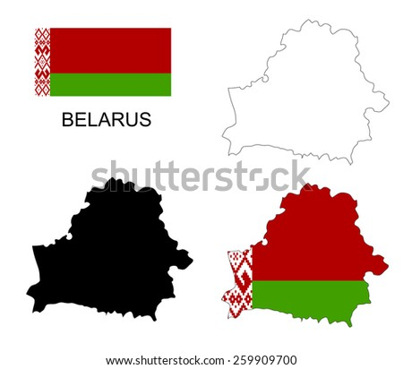 Belarus map and flag vector, Belarus map, Belarus flag - stock vector
