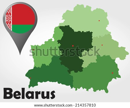 Belarus political map with green shades and map pointer. - stock vector