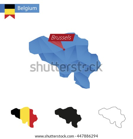 Belgium blue Low Poly map with capital Brussels, versions with flag, black and outline. Vector Illustration. - stock vector