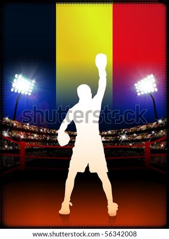 Belgium Boxing on Stadium Background Original Illustration - stock vector