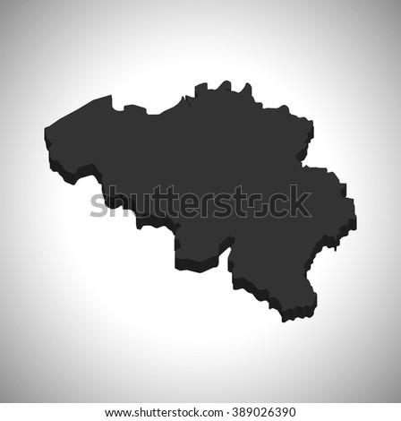 Belgium - 3D map - stock vector