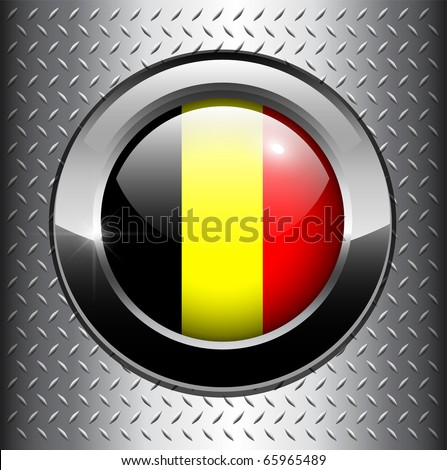 Belgium flag button on metal background, vector.