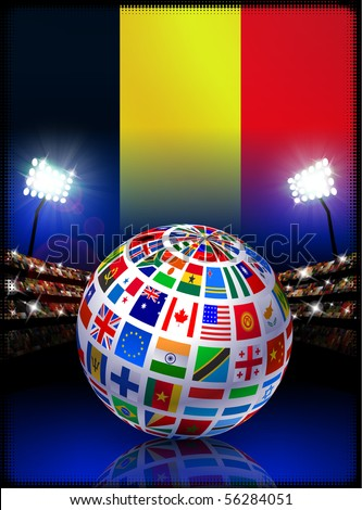 Belgium Flag Globe on Stadium Background Original Illustration