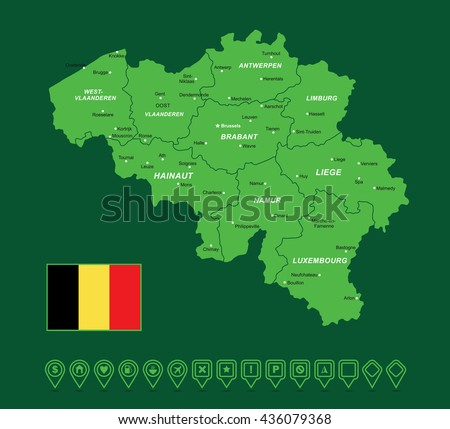 Belgium Green Map vector illustration - stock vector